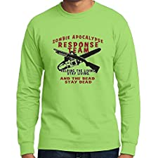 TshirtsXL Big Men's Long Sleeve Zombie Response Team Graphic Tee, 5X, Lime