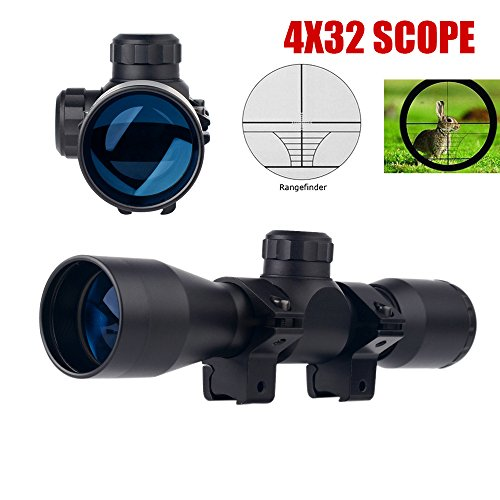 UUQ Tactical 4X32 Compact .223 .308 Scope Rangefinder Reticle/w Ring Mounts ()