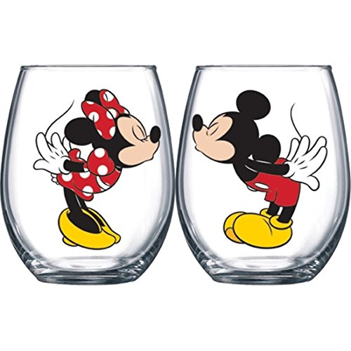 (Disney Kissing Mickey and Minnie Mouse Couples Stemless Glasses, Set of 2 )