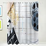 IVERS Blackout Window Curtain Panel Grommet Top Drapes 2 Panel Set Room Darkening Thermal Insulated Blackout Drapes for Bedroom (W55 x L84,Movie)