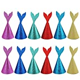 Colybecation 12pcs Super Glitter Creative Handmade Mermaid Party Hats Coming with Ropes