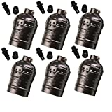 SooFoo E27 Medium Light Socket, Metal Shell Edison Retro Pendant Lamp Holder For Lamp Socket And Fixture Replacement, Industrial Vintage DIY Projects, 6 Pack