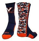 Virginia Digital Camo Crew Socks (Navy/Orange/White, Medium)