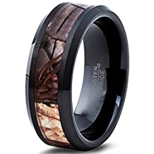 Tungsten Wedding Band Ring 8mm for Men Women Black Camo Hunter Beveled Edge Polished Comfort Fit Lifetime Guarantee