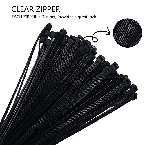 Nylon Cable Zip Ties - 4 6 8 10 12 Inches,500pcs with 50pcs Self Adhesive Cable Zip Tie Mounts for Home Ofiice Workshop by LanGui (Image #5)
