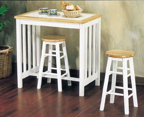 3pc Breakfast Table & Stools Set Natural & White Finish (Breakfast Bar Table With Stools)