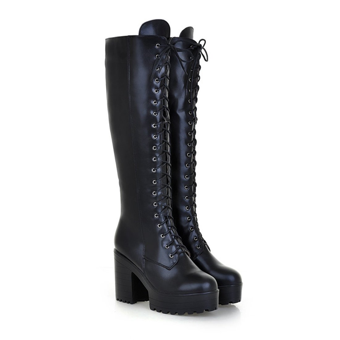 Mostrin Women's Lace-up Casual Chunky Heel Platform Knee High Combat Boot
