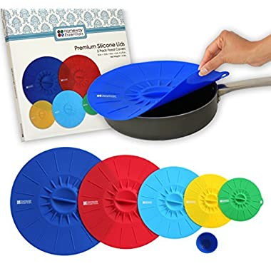 Homeway Essentials Silicone Lids - Microwave Covers, Food Covers, Bowl Covers. Suction Lids use for Pan or Skillet Lids. Boxed Gift Set. 4.75, 6, 8, 10, 12 inch.