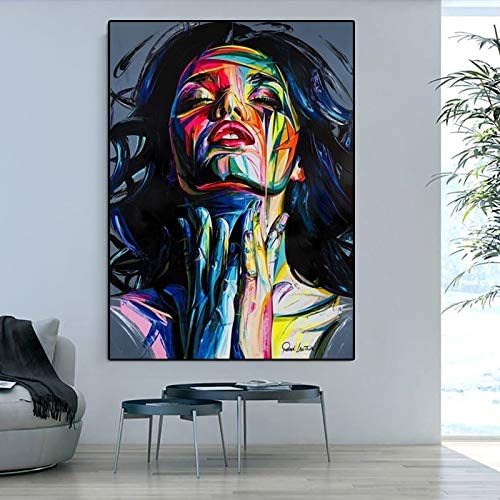 wZUN Gran Retrato Abstracto Pintura al óleo sobre Lienzo Pintura al óleo Artista Mural decoración del hogar Cuadro de Pared 60x90 Sin Marco