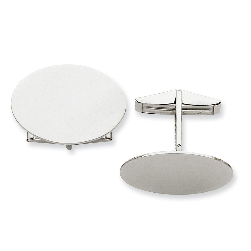 14k Solid White Gold Oval Cuff Links