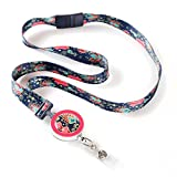 Tapestry Ribbon Lanyard with ID Badge Reel For Women with Breakaway Safety Clasp