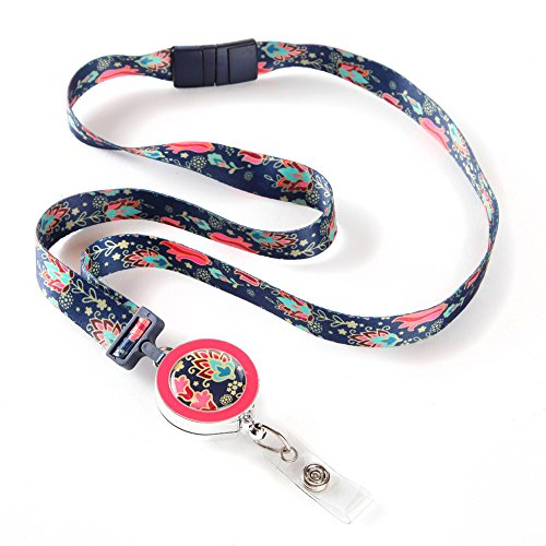 Tapestry Ribbon Lanyard with ID Badge Reel For Women with Breakaway Safety (Breakaway Badge Lanyards)