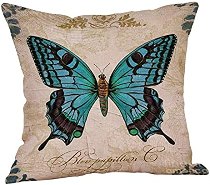 Design Butterfly Pattern Cushion Cover Linen Decorative Pillows Cover For Sofa Seat Throw Pillow Case 45x45cm Homer 4pcs Amazon Co Uk Kitchen Home