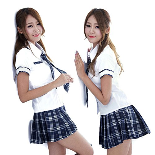 [NEW! Sexy Japan High School Girl Sailor Uniform Suit Cosplay Babydoll Costume Dress (L, White & Blue] (Batman And Robin Tutu Costumes)