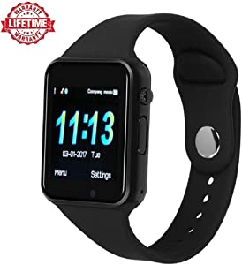 Smart Watch Kkcite Bluetooth Touch Screen Smartwatch Unlock Cell Phone Sim 2G GSM with Camera Sleep Monitor, Push Message, Anti Lost Etc for Men Women Kids (Spray Black)