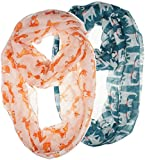 Vivian & Vincent 2 Pack of Soft Light Weight Elegant Sheer Infinity Scarf (Gift Idea) Pink Fox & Turquoise Cat