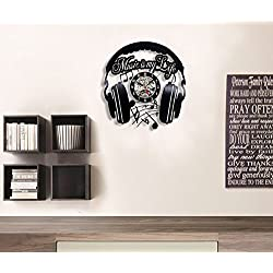 Music Vinyl Wall Clock Art Gift Room Modern Home Record Vintage Decoration