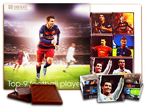 Mom Candy Wrappers (DA CHOCOLATE Candy Souvenir Top-9 football players of this year Chocolate Set 5x5 1 box (Messi))