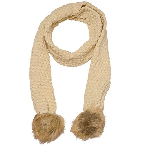 Marilyn Monroe Girls Ivory Tan Textured Faux Fur Detail Winter Scarf by Marilyn Monroe (Image #1)