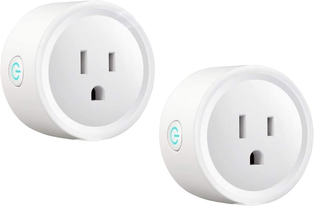 Smart Plug 2 Pack Mini Wi-Fi Socket Outlet Compatible with Alexa Echo Compatible with Google Home Assistant IFTTT Remote Control Your Devices from Anywhere Energy Saving No Hub Required