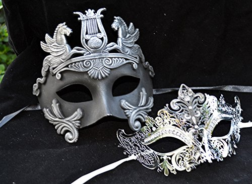 [Hercules Luxury Couple Mask Mardi Gras Venetian His & Her Mask Ball Masquerade Mask] (Hercules Costume Couple)