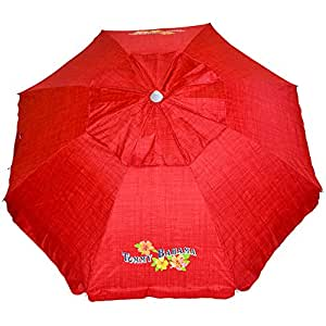 Tommy Bahama Sand Anchor 7 feet Beach Umbrella with Tilt and Telescoping Pole (Apple Red)