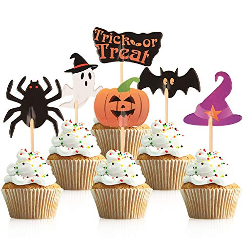 Halloween Desserts For Parties (Donoter 60 Pcs Halloween Cupcake Toppers Trick or Treat Pumpkin Spider Bat Ghost Witch Hat Food Picks for Halloween Party Dessert)