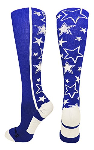 MadSportsStuff Crazy Socks with Stars Over the Calf Socks (Royal/White, Medium) (Red Wrestling Arch)