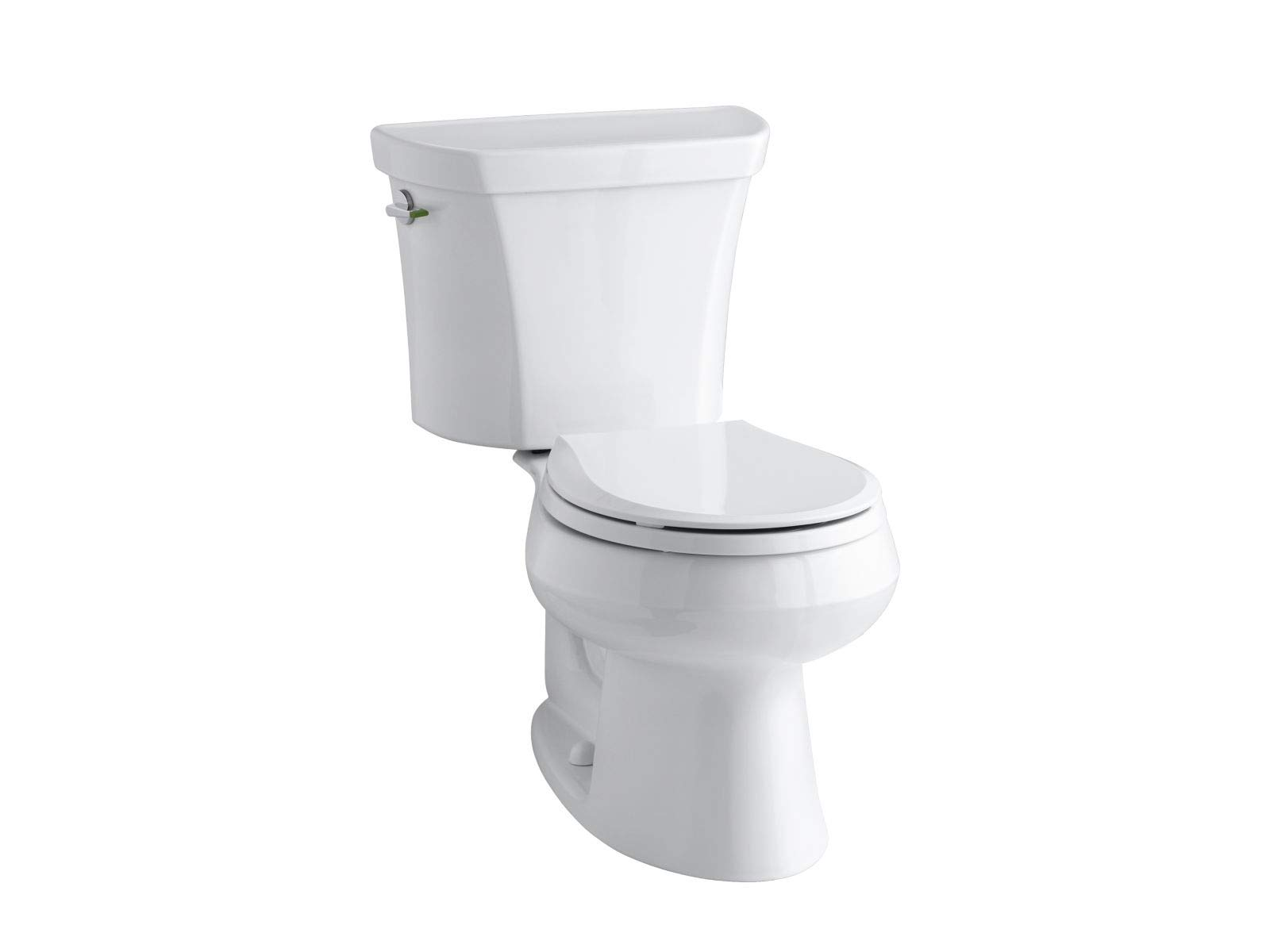 KOHLER K-3987-0 Wellworth Two-Piece Round-Front Dual-Flush Toilet with Class Five Flush System and Left-Hand Trip Lever, White by Kohler