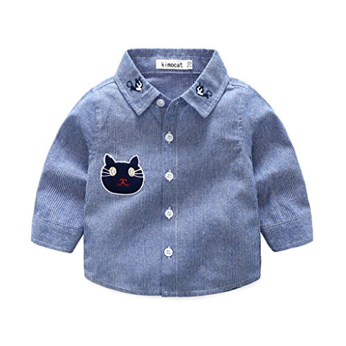 (Kimocat Striped Shirts with Embroidered Cat Patterned for Baby Boys Age 6 to 24 Months (95, blu-B))