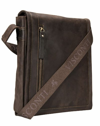 Visconti 16081 Distressed Oiled Leather Messenger Cross-Body Shoulder Bag (Brown) by Visconti