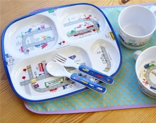 Fortissimo Bonita Bandeja Infantil para Comida en Azul Oscuro y Blanco con Varios Compartimentos para Separar Platos, con Coches de Colores, ...