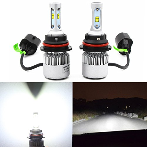 Alla Lighting Extremely Super Bright High Power COB Chipset HB5 9007 9007LL LED Headlight Bulbs w/ 8000Lm 6500K Xenon White for Replacing High Low Beam Halogen Headlamp All-in-One Conversion Kits