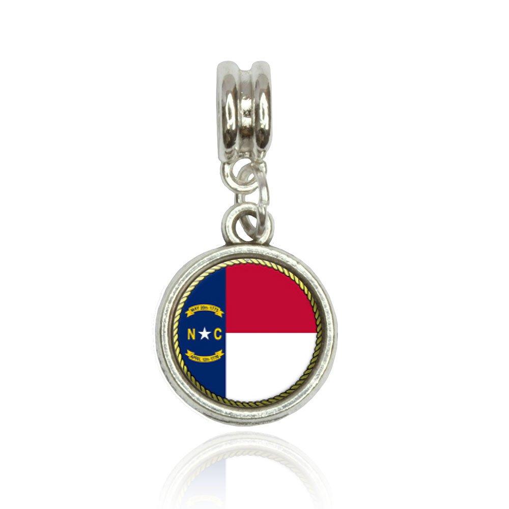 Made On Terra North Carolina State Flag Euro European Italian Style Bracelet Bead Charm