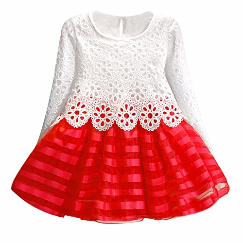 Kehen Kids Toddle Girls Party Clothes Pom Pom Fold Short/Long Sleeve Solid Lace Princess Dress (Red #2, -