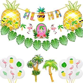 Luau Table Cocnut  Pineapple Party Glitter Colorful Confetti Tree