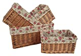 Set of 4 Double Steamed Garden Rose Willow Storage Baskets
