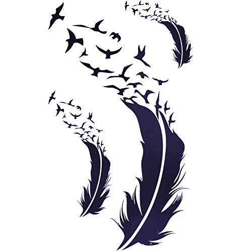 Cokohappy Temporaire Tatouage Ensemble 2 Plume Oiseau Amazon Fr