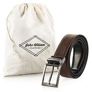 Genuine Leather Belts for Men Swivel Reversible Black & Brown Men's Dress Belt: Mens belts for Business Casual or Formal Wear - 38