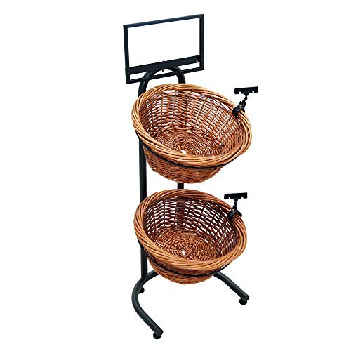 2-Tier 2 Round Willow Basket Display with Sign Frame and Sign Clips 2 Tier Wicker