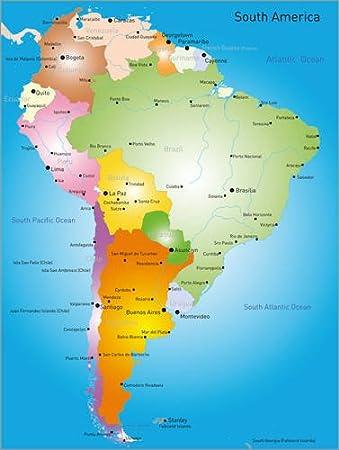 Posterlounge Leinwandbild 60 X 80 Cm Sudamerika Landkarte Von