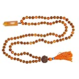 Japa Mala Beads Healing Reiki Carnelian Pendants with Rudraksha 108 Sacral Chakra Necklace