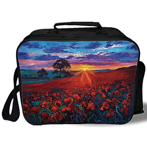 - Insulated Lunch Bag,Country Decor,Scenery of Poppy Flower Garden on Valley with Horizon and Fairy Clouds at Sunset Paint,Multi,for Work/School/Picnic, Grey