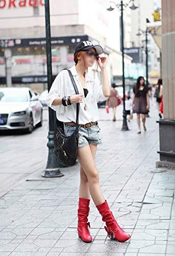 con rialzo lunghi al donna da rosse Stivali forti alto scarpe fondo piatto taglie Wsr ginocchio FAHxwSqIq