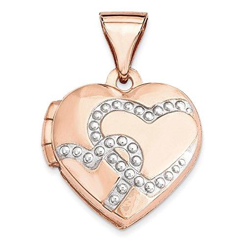 14k Two-Tone Gold 12mm Heart Locket Pendant by K&C
