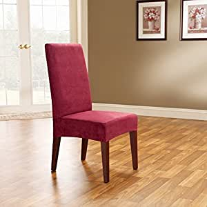 Sure Fit Soft Suede - Shorty Dining Room Chair Slipcover - Burgundy (SF36674)