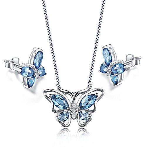 Aurora Tears Butterfly Jewelry Set Blue Purple Created Amethyst Necklace Earrings for Women
