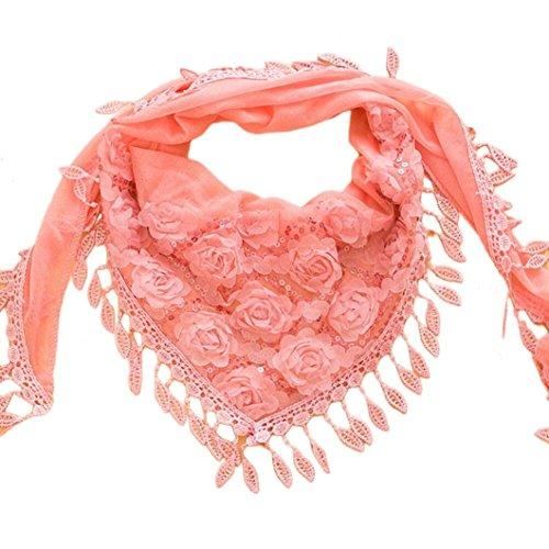 Chiffon Scarf, Malltop New Fashion Women's Embroidered Trigonometric Cape Bib Tassel Silk Scarf