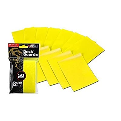 100 Premium Yellow Double Matte Deck Guard Sleeve Protectors for Gaming Cards: Toys & Games