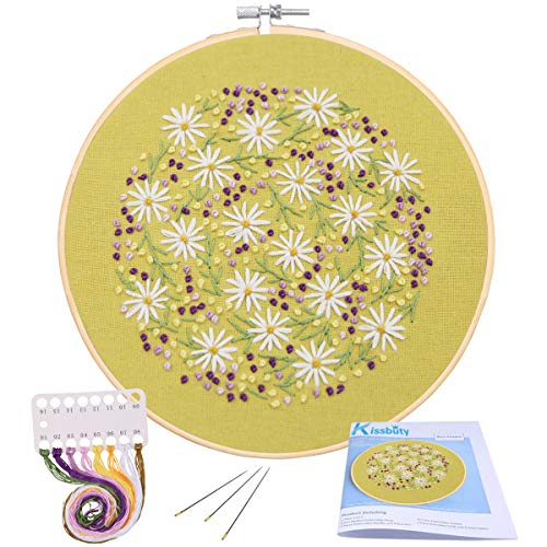 Full Range of Embroidery Starter Kit with Pattern, Kissbuty Cross Stitch Kit Including Stamped Embroidery Cloth with Floral Pattern, Bamboo Embroidery Hoop, Color Threads and Tools Kit (Daisy)